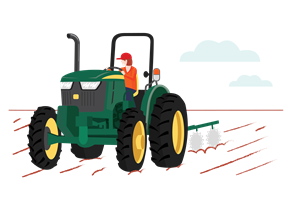 woman plowing field with tractor