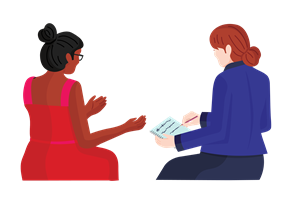 Woman counselling another woman