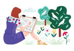 woman sketching a nature scene of trees and birds and flowers