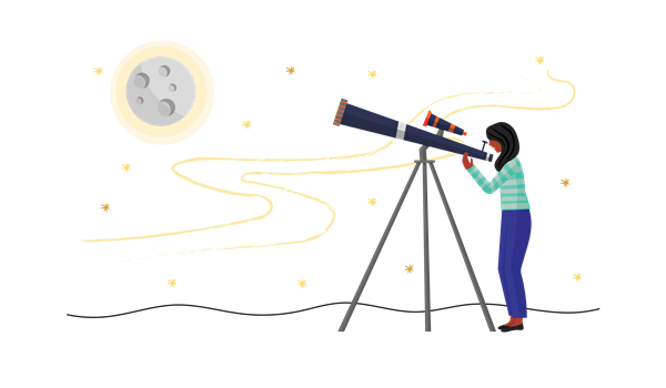 A female stargazer looking at the night sky with a telescope