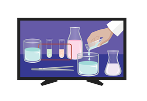 Image of beakers containing various liquids on a monitor