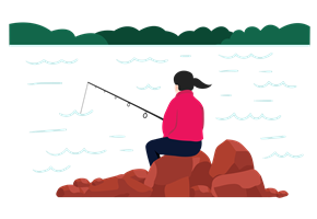 woman fishing alone sitting on a rock