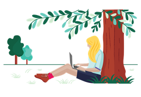 woman working on laptop under a tree