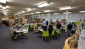 Students from Northern Beaches Secondary College in the library